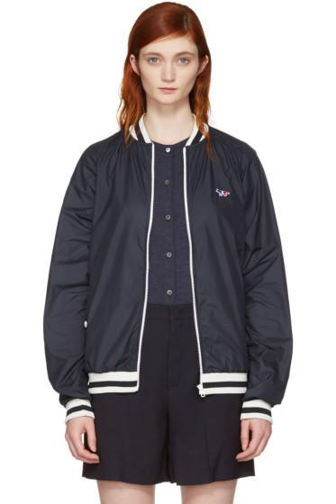 Maison Kitsuné - Navy Tricolor Fox Windbreaker Jacket