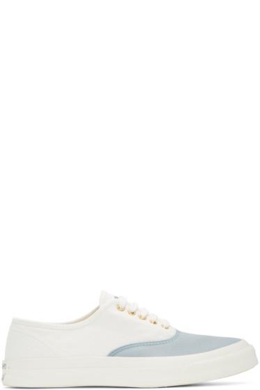 Maison Kitsuné - White & Blue Canvas Sneakers