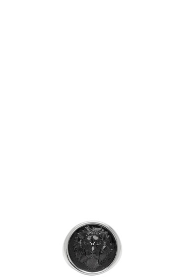 Versus - シルバー & ブラック ラウンド ライオン リング