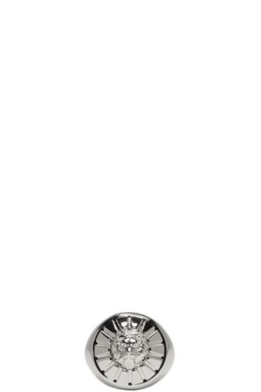 Versus - シルバー ラウンド ライオン ヘッド リング