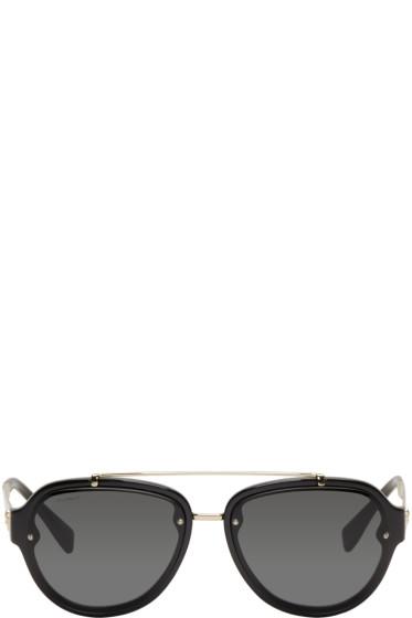 Versace - Black Double Bridge Aviator Sunglasses