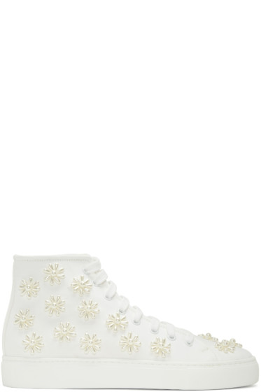 Simone Rocha - White Beaded Classic Canvas High-Top Sneakers