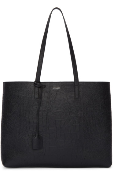Saint Laurent - Black Croc-Embossed Large Shopping Tote Bag