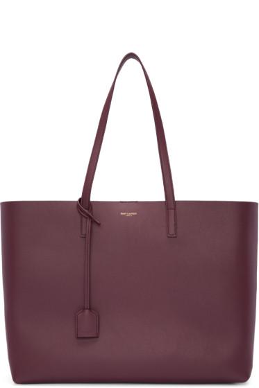 Saint Laurent - Burgundy Large Shopping Tote Bag