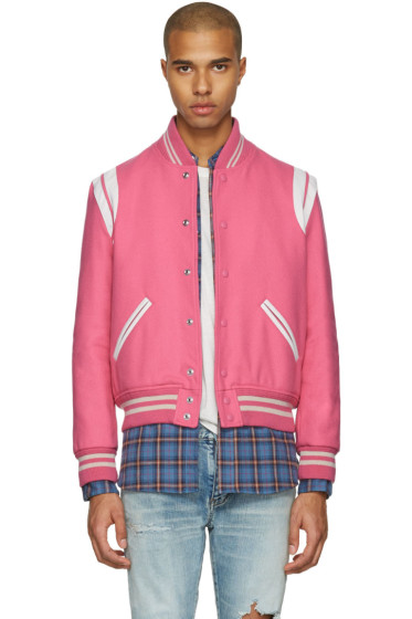 Saint Laurent - Pink Wool Teddy Bomber Jacket
