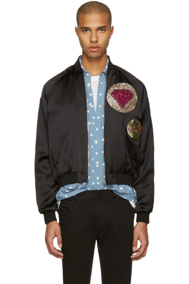 Saint Laurent - Black Satin Patch Teddy Bomber Jacket