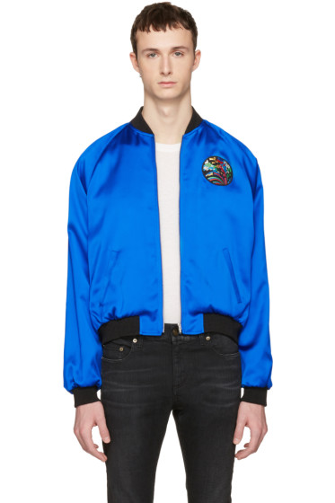 Saint Laurent - Blue Teddy 'Sweet Dreams' Shark Bomber Jacket