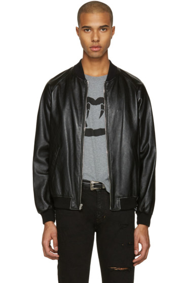 Saint Laurent - Black Leather Oversized Teddy Bomber Jacket