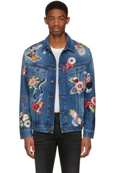 Saint Laurent - Blue Denim Love Patch Jacket