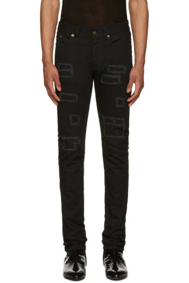 Saint Laurent - Black Patched Low-Waisted Skinny Jeans