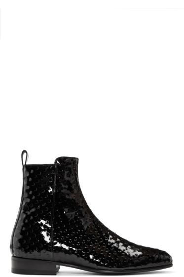 Saint Laurent - Black Perforated Wyatt Zip Boots