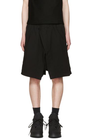 Julius - Black Wrap Layered Shorts