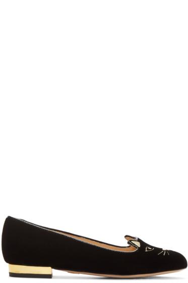 Charlotte Olympia - Black Velvet Kitty Flats