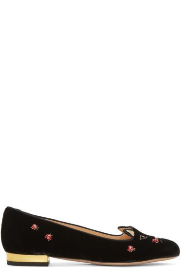 Charlotte Olympia - Black Velvet Lucky Kitty Flats