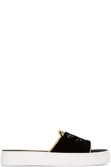 Charlotte Olympia - Black Velvet Kitty Pool Slides