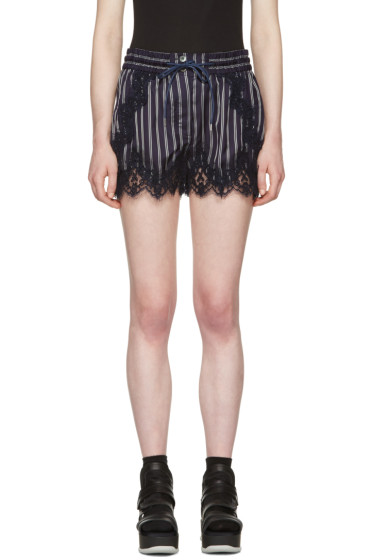 Sacai - Navy Striped Lace Shorts