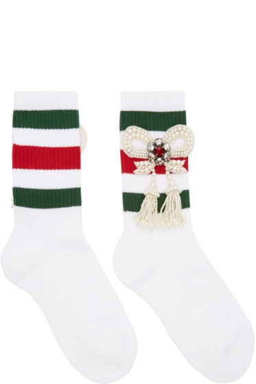 Gucci - White Bow Little William Socks