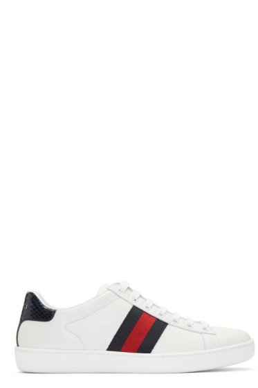 Gucci - White Leather Stripe New Ace Sneakers