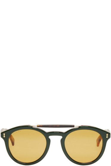 Gucci - Green & Red Opulent Luxury Vintage Pilot Sunglasses