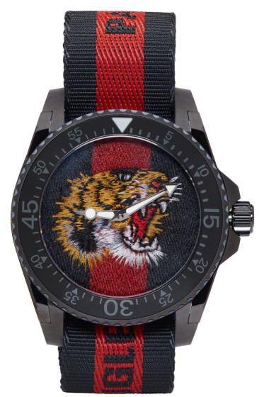 Gucci - Navy & Red Web Tiger Dive Watch