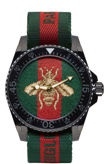 Gucci - Green & Red Web Bee Dive Watch