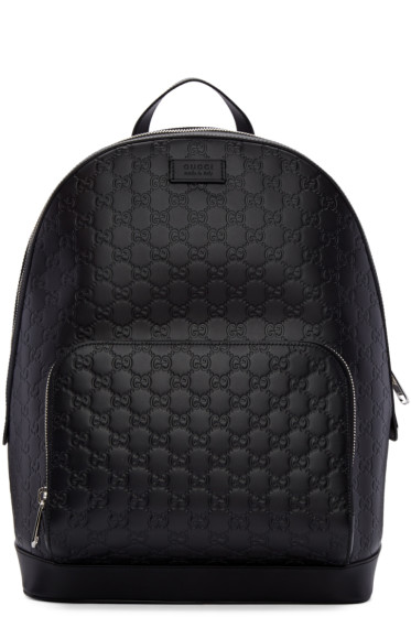 Gucci - Black Leather Signature Backpack
