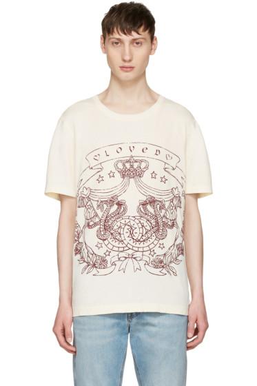 Gucci - Ivory 'Loved' Logo T-Shirt