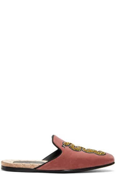 Gucci - Red Velvet Snake Slip-On Loafers
