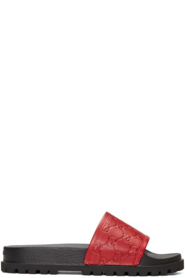 Gucci - Red Pursuit Trek Slide Sandals