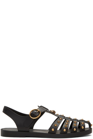 Gucci - Black Studded Rubber Sandals