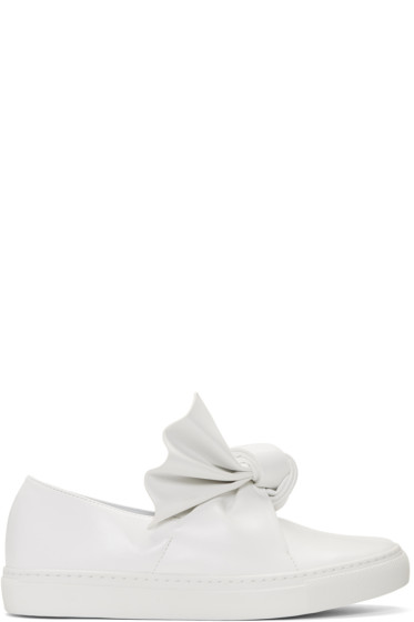 Cédric Charlier - White Bow Slip-On Sneakers