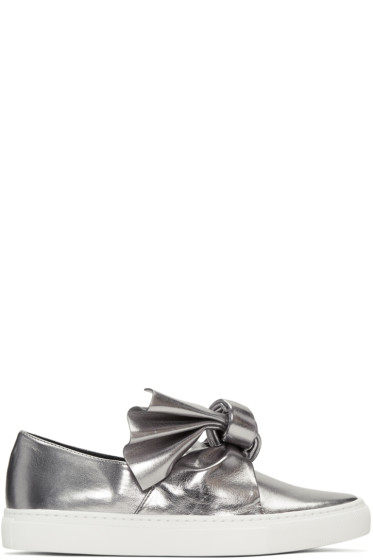 Cédric Charlier - Silver Bow Slip-On Sneakers