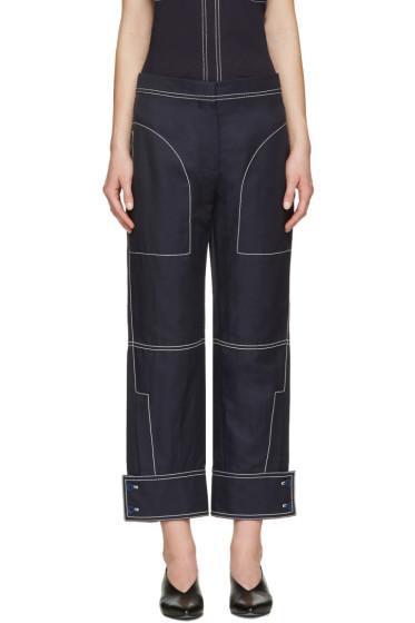 Stella McCartney - Navy Buttoned Cuff Stitching Trousers