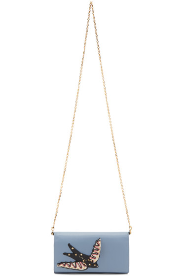 Valentino - Blue Small 'Garden of Delight' Wallet Chain Bag