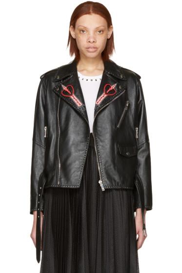 Valentino - Black Leather Love Blade Motorcycle Jacket