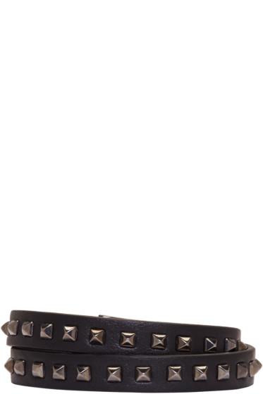 Valentino - Black Mini Stud Double-Wrap Bracelet