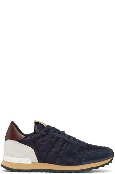 Valentino - Navy Mesh Rockstud Sneakers