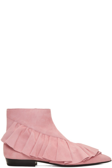 J.W. Anderson - Pink Suede Ruffle Boots