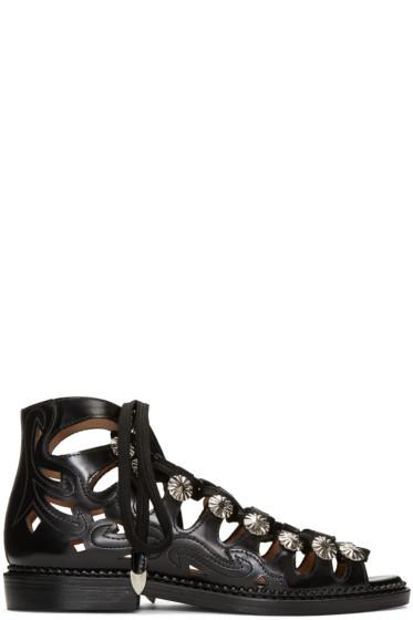 Toga Pulla - Black Lace-Up Sandals