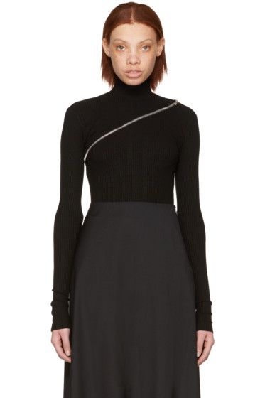Yang Li - Black Asymmetric Zip Turtleneck