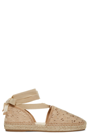 Jimmy Choo - Beige Embroidered Lace Dolphin Espadrilles