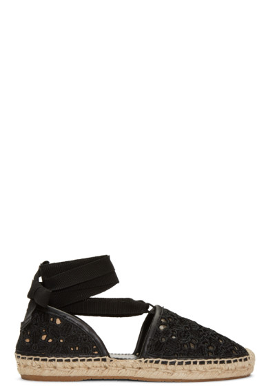 Jimmy Choo - Black Embroidered Lace Dolphin Espadrilles