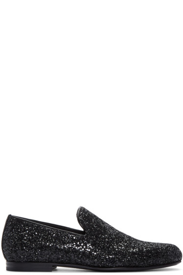 Jimmy Choo -  Black Glitter Sloane Loafers