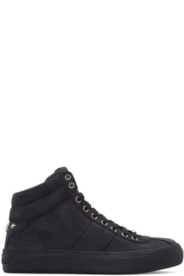 Jimmy Choo -  Black Nubuck Perforated Belgravia High-Top Sneakers