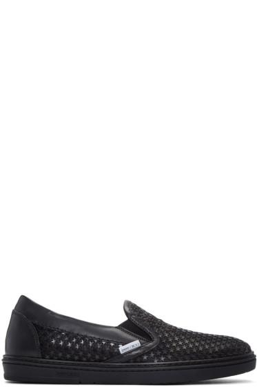 Jimmy Choo - Blue Satin Star Grove Slip-On Sneakers