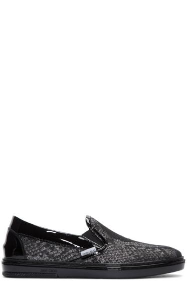 Jimmy Choo - Silver Snake Lamé Slip-On Sneakers