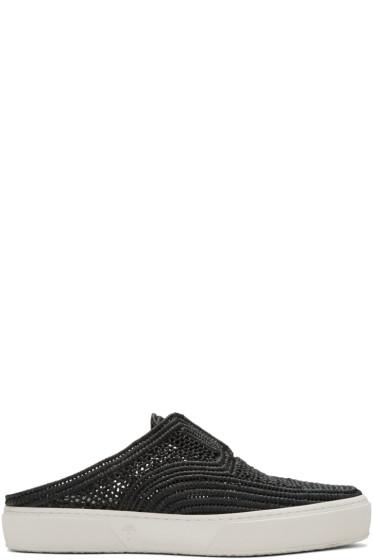 Robert Clergerie - Black Teller Straw Stitch Slip-On Sneakers