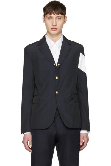 Moncler Gamme Bleu - Navy Contrast Sleeve Blazer