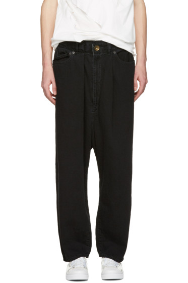 Miharayasuhiro - Black Oversized Wide-Leg Jeans