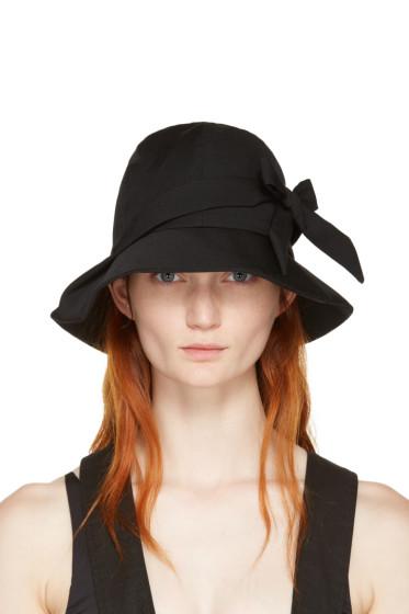 Yohji Yamamoto - Black Bow Cloche Hat